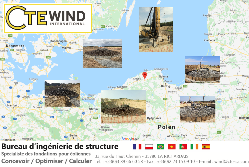 Map of wind turbine foundation in Poland