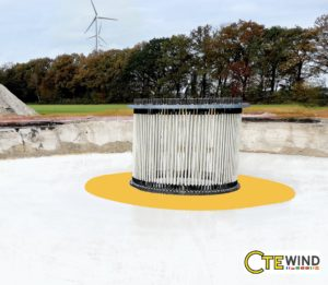 750 wind turbines around the globe are using CTE Wind's Soft-spot™  solution . The yellow circle outlines the soft layer.