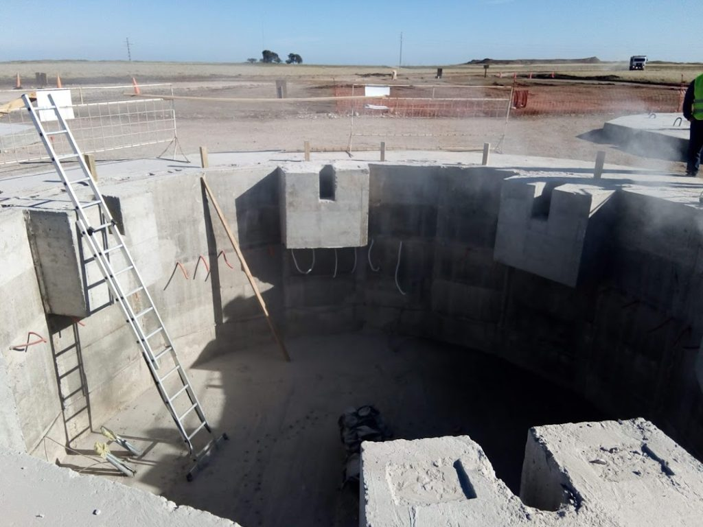 Hollow foundation for concrete towers in Argentina. CTE Wind design concrete tower foundations