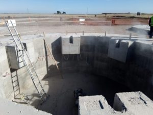 Hollow foundation for concrete towers in Argentina
